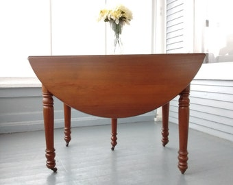 Antique, Drop Leaf, Table, Kitchen Table, Dining Table, Oval, Wood, Solid Walnut, Farmhouse, Country Chic, RhymeswithDaughter