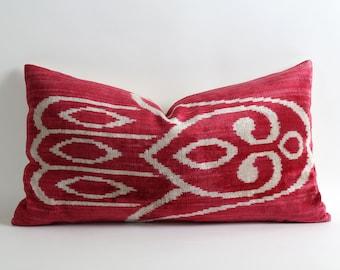 Red Ikat Pillow Cover 14x25 Velvet Ikat Lumbar Long pillow bedroom decor moroccan decor pop of color stylish fabric contemporary design