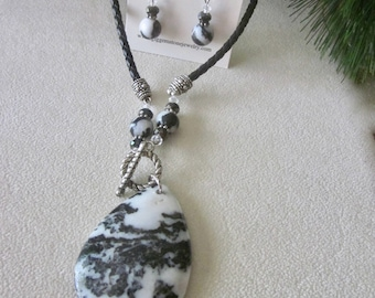 Black and White Jasper Necklace and Earring Set
