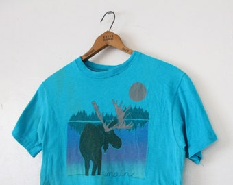 SMALL Vintage 1980s Maine Moose Graphic T-Shirt