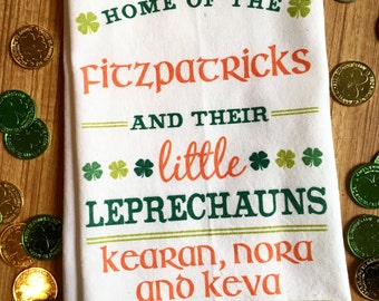 St. Patricks Day Decor, St. Patricks Day Kitchen Towel, Custom Kitchen Tea Towel, Personalized St. Patricks Day Gift, Leprechaun Tea Towel