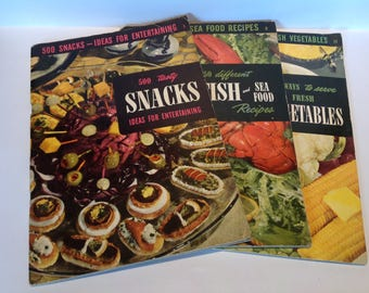 1949 US Culinary Arts Institute Cook Books x 3. Snack Cookery. Fish Cookery. Vegatable Cookery.