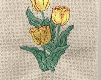 Yellow and Red Tulips Microfiber Hand Towel - Cream