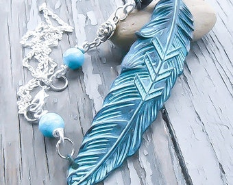 Native American Jewelry - Native American Feather Necklace - Tribal Necklace - Turquoise Necklace - Navajo Necklace - Feather Neckace