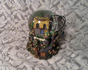 "Springtime Cottage Musical Snow Globe - Glitter Globe with Beautiful Flowers & Hanging Birds - Song ""Greensleeves"" - Country, Cottage Chic"