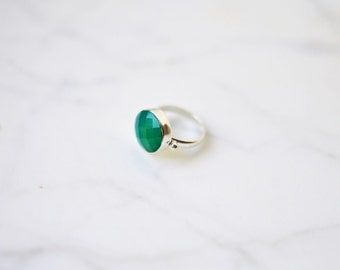 Silver Green Onyx Ring, Gemstone Ring,