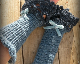 Romantic warms wrists. Crochet and knit gloves. Knitted fingerless gloves with crochet edge. Lace cuff for fashion woman.