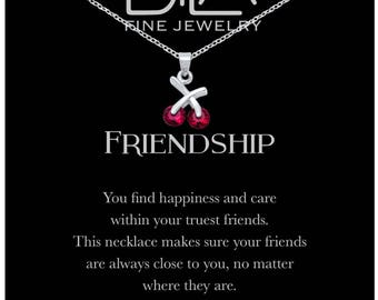 DTLA Friendship Necklace in Sterling Silver with Inspirational Quote Card - Ruby Red CZ