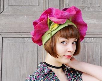 Felted floral hat, spring flower, unique fairy hat, festive elvish hat, fashionable designer hat, felt floral bonnet, bohemian style, OOAK