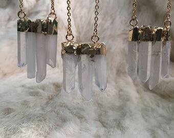 Quartz Point Necklace Cluster Quartz points statement layering necklace gold Quartz Jewelry Boho Bohemian Gold Quartz Points Electroplated
