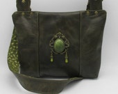 Celtic Victorian Gothic Jade Dragon Brown Army Green Leather Zip Back Hand Bag Shoulder Bag -- Royal Dragon