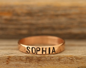 4mm Stamped Copper Name Ring