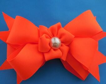 big orange bow,kanzashi orange bow,bright orange bow.