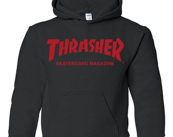Thrasher skateboard magazine hooded sweatshirt sweater clothing 80s 90s pullover shirt