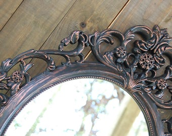 Shabby Chic Mirror, Bronze, Black, Hanging Mirror, Wall Mirror, Ornate, Wedding, Oval, Hand Painted, Baroque Mirror, Hollywood Regency