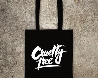 CRUELTY FREE tote shopper bag vegan veggie animal rights alf protest shopping