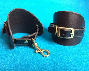 Leather Bondage Cuffs | Wrist Restraints | Genuine Leather BDSM Handcuffs