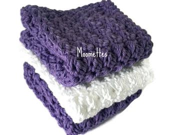 Handmade Dish Cloths White Amethyst Purple Wash Cloths Crochet Kitchen Dishcloths Eco Friendly Cotton Shabby Set of 3