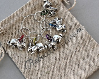 Gift for knitter, gifts for knitters, RAINBOW RABBITS, gift for knitters, knitting gift, stitch markers, knitter gift, notions