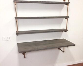 Floating Desk - wall mounted desk - industrial desk - industrial chic desk and industrial shelves - industrial style desk-  modern desk