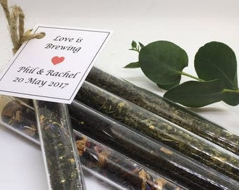 Personalised favours, Edible Favours, Test Tube Favours, Tea Wedding Favours, Customised Wedding Favours