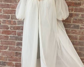 M / Wedding Night Peignoir / Chiffon Honeymoon Robe / Sheer Negligee / Wedding Lingerie