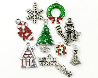 9 Christmas charms collectionantique silver,13mm to 34mm  # ENS A 100