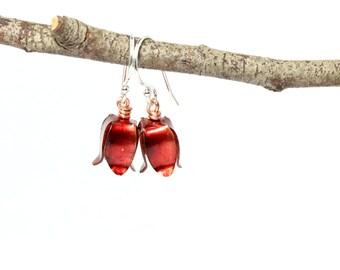 Red Bluebell Earrings, Flower Earrings, Bluebells, Red Flowers, Bluebell Earrings, recycled copper, eco friendly, sustainable jewelry