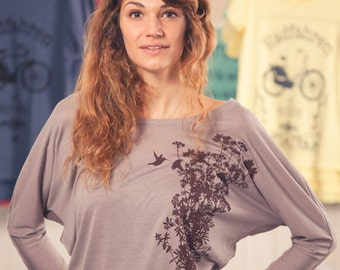 Plant Hummingbird - women - fair traded flow-shirt - long sleeve - Brown
