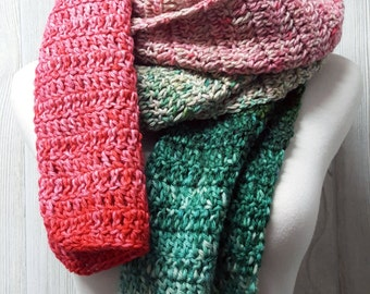 Watermelon scarf, Wool scarf, hand dyed yarn, Wrap scarf, Womens accessories, Christmas gift, Green and pink,