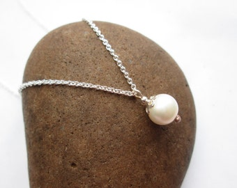 Single Pearl Pendant - Pearl Necklace, Bridal Jewelry, Wedding Jewellery, Gift Jewellery, Gift for Her, Real Pearl, Ivory Pearl, White