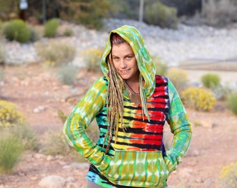 Tie Dye Hoodie, Trippy OOAK Organic Bamboo Hooded Sweatshirt, Hippie Rainbow Patchwork Clothing
