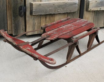 Vintage Wood Child's Sled, Child's Snow Glider Sled, Winter Holiday Decor