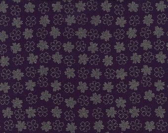 Japanese Cherry Blossoms Tone on Tone Japanese Indigo Printed Cotton Quilting Fabric by the half yard AP1310-47