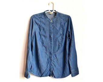Womens Blue Denim Tuxedo Shirt Vintage Large L