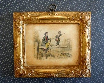 Vintage Wall Chalkware, Borghese Chalkware, Gold Chalk Ware Frame, Plaster Cast Frame, Gold Wall Plaque Decor