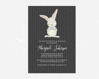 Baby Boy Shower Invitation | DIY Printable Baby Shower Invitation | Rabbit Baby Shower Invite | Bunny Baby Shower Invitation