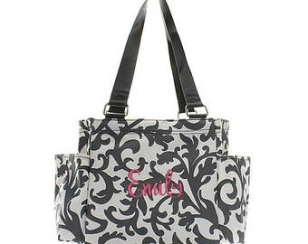 Personalized Floral Caddy Gray Organizing Utility Tote Bag Monogrammed Zip Top Pocket Beach Diaper Craft Embroidered