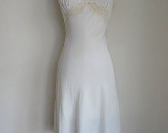 50's Slip Silk Bias Cut White Lace Slip Small