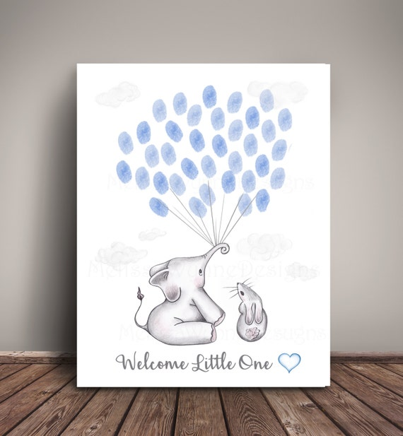 printable instant download elephant thumbprint guest book