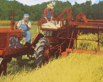 Vintage 1950's Farmer On Tractor Harvesting Wheat Linen Postcard - Free Shipping