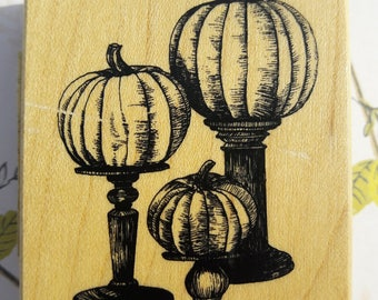 Pumpkin Trio Wood Mounted Rubber Stamp Scrapbooking & Paper Craft Supplies
