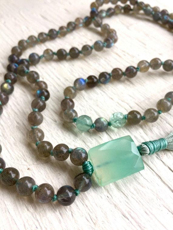 Labradorite Prayer Beads Green Chalcedony Mala Beads Green Fluorite Crown Chakra Mala Buddha Beads Yoga Aura Cleansing