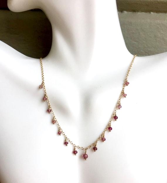 Pink Tourmaline Dangle Necklace Petite Necklace Minimalist Genuine Tourmaline October Birthstone  Heart Chakra Jewelry, Wedding Jewelry