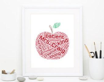 Teacher Gift, Teacher Art, Personalized Teacher gifts, Teacher Gifts, Teacher Appreciation gift, end of the year gift, Teacher word art