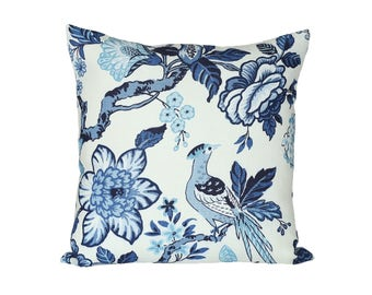 Huntington Gardens designer pillow cover in Bleu Marine - Schumacher Timothy Corrigan - 1 SIDED OR 2 SIDED - Made to Order - Choose Size