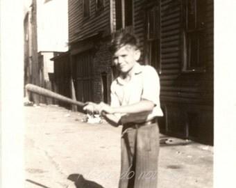 shadow baseball ~  Vintage Snapshot Photo