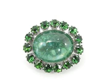 Vintage Green Rhinestone Brooch, Speckled, Glass Cabochon, Silver Tone