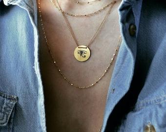 Evil eye vermeil necklace, eye of horus vermeil necklace, disc vermeil necklace, eye or ra necklace