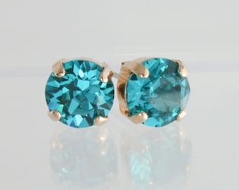 Blue zircon crystal earrings,december birthstone,swarovski blue zircon,swarovski earrings,pairaba tourmaline,birthstone earrings,gift,blue